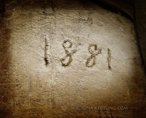 This 1881 was scribed into a plaster patch in the basement. We don't know if that is the date the house was built. The basement walls are whitewashed brick, but the foundation of the rest of the house is limestone block.