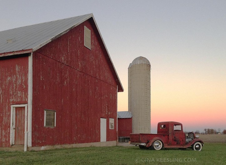 These days, the Chevy stays tucked away safely in our climate controlled garage. On this evening, we'd taken it out for a jaunt to the grocery store, and I snapped this picture of it next to a neighboring barn on the way home.